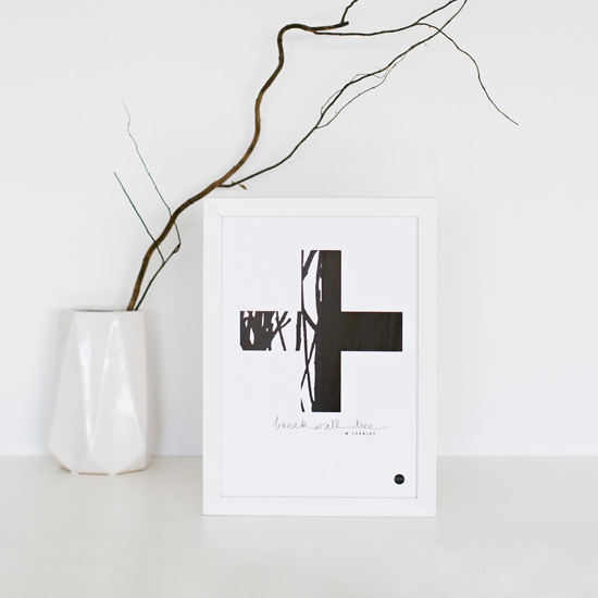 Scandinavian prints | Yamba Scandi black & white prints | The Cross print